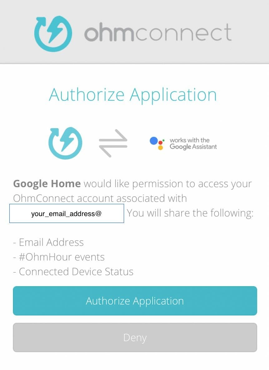 Activation of OhmConnect on Google Home